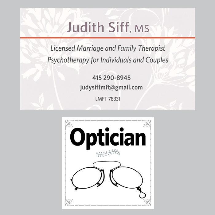 Judy Siff Optian biz cards